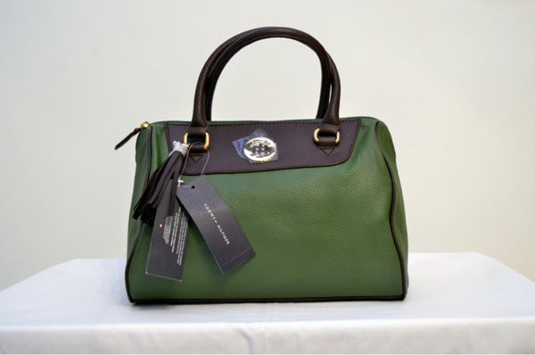 Tommy Hilfiger Black & Green Leather Tote Bag | Brand New | - Secret Stash