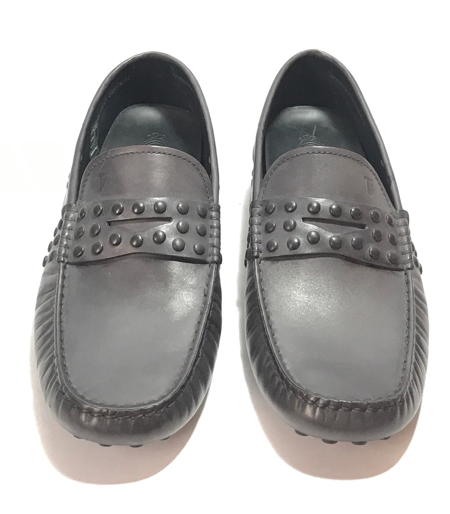 TOD'S Gunmetal Leather Men's Loafers | Brand New |