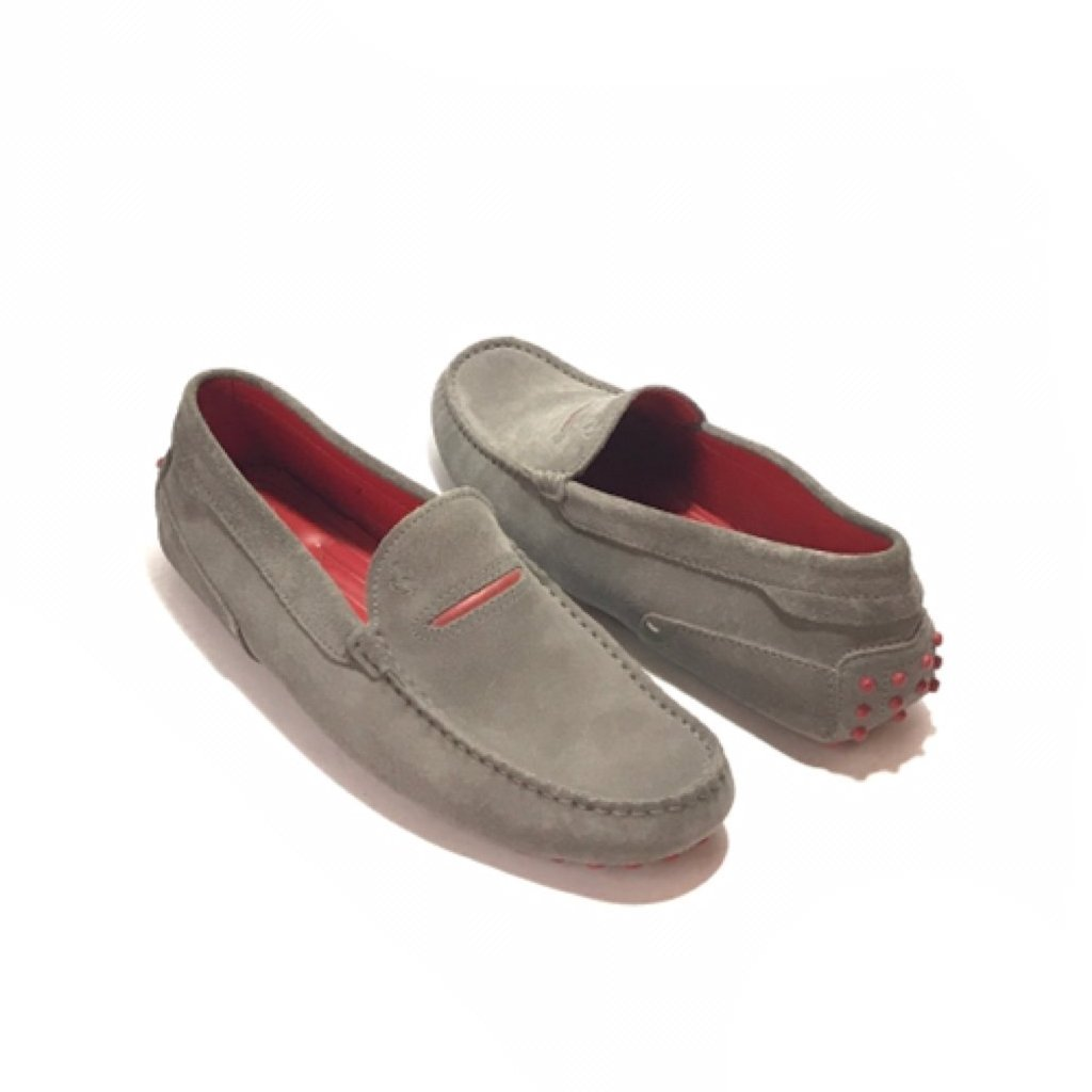 TOD'S x Ferrari Light Grey 'Gommino' Suede Men's Loafers | Like New |