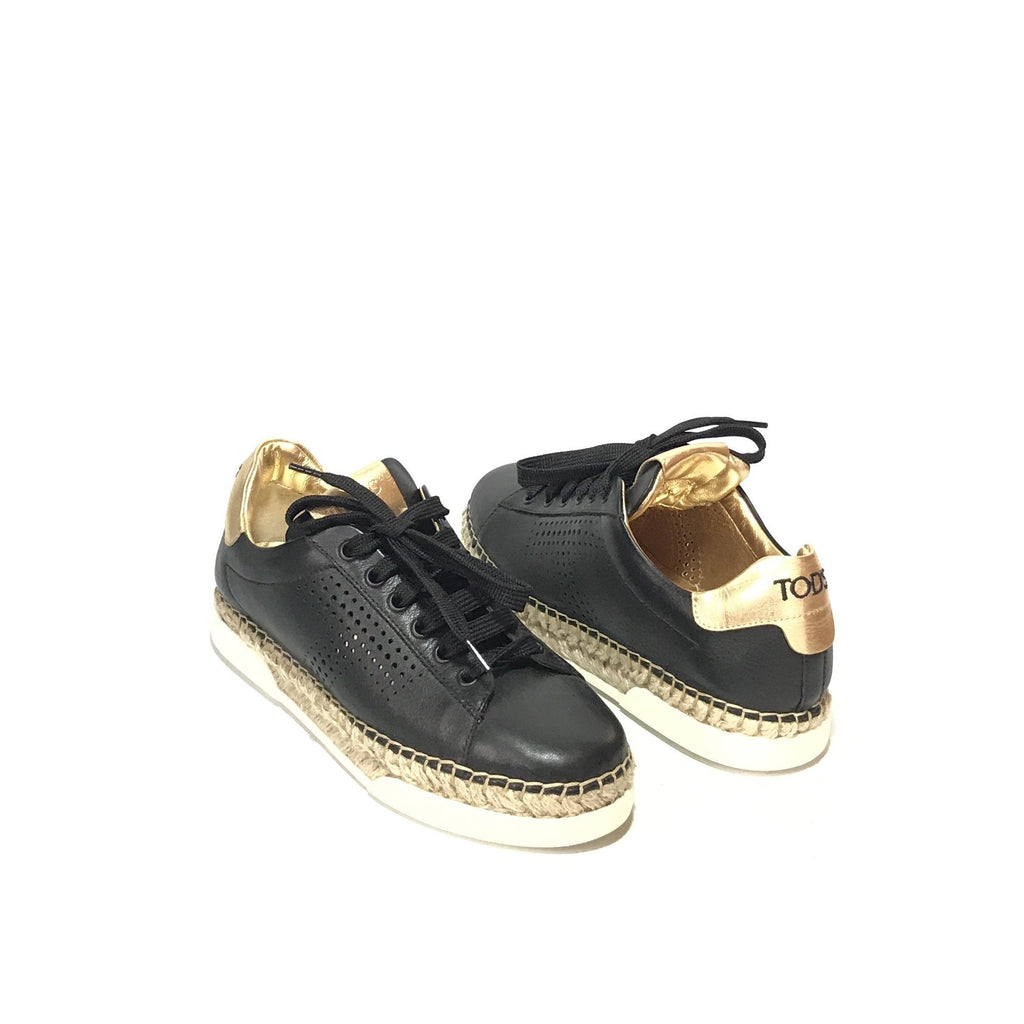 TOD's Black & Gold Leather Sneakers | Gently Used |