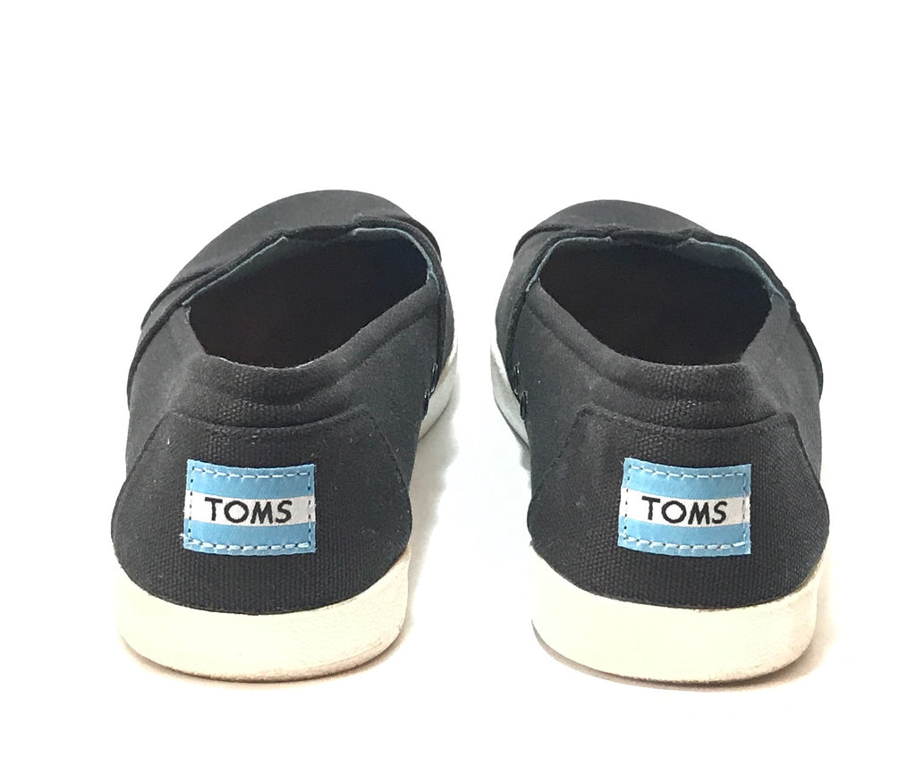 TOMS Black & White Canvas Slip-on Shoes | Gently Used |