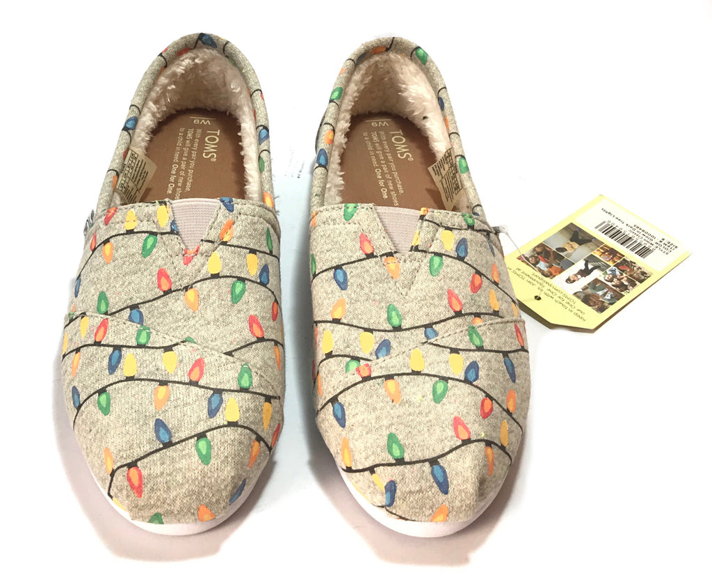 TOMS 'Glow in the Dark Tree Lights' Light Grey Women's Classic Shoes | Brand New |