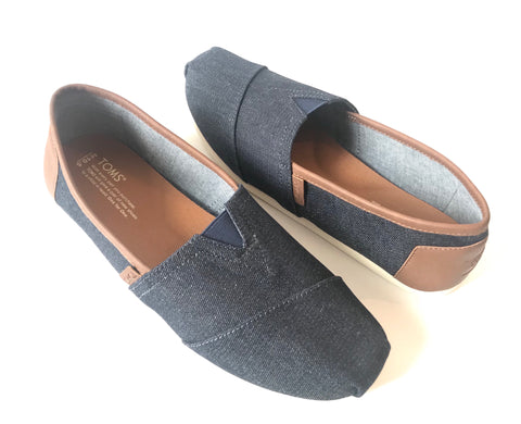 TOMS Men's Denim with Leather Trim Shoes | Brand New |