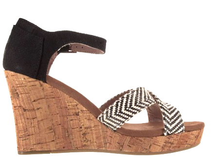 TOMS Black & White Cork Wedges | Brand New | - Secret Stash
