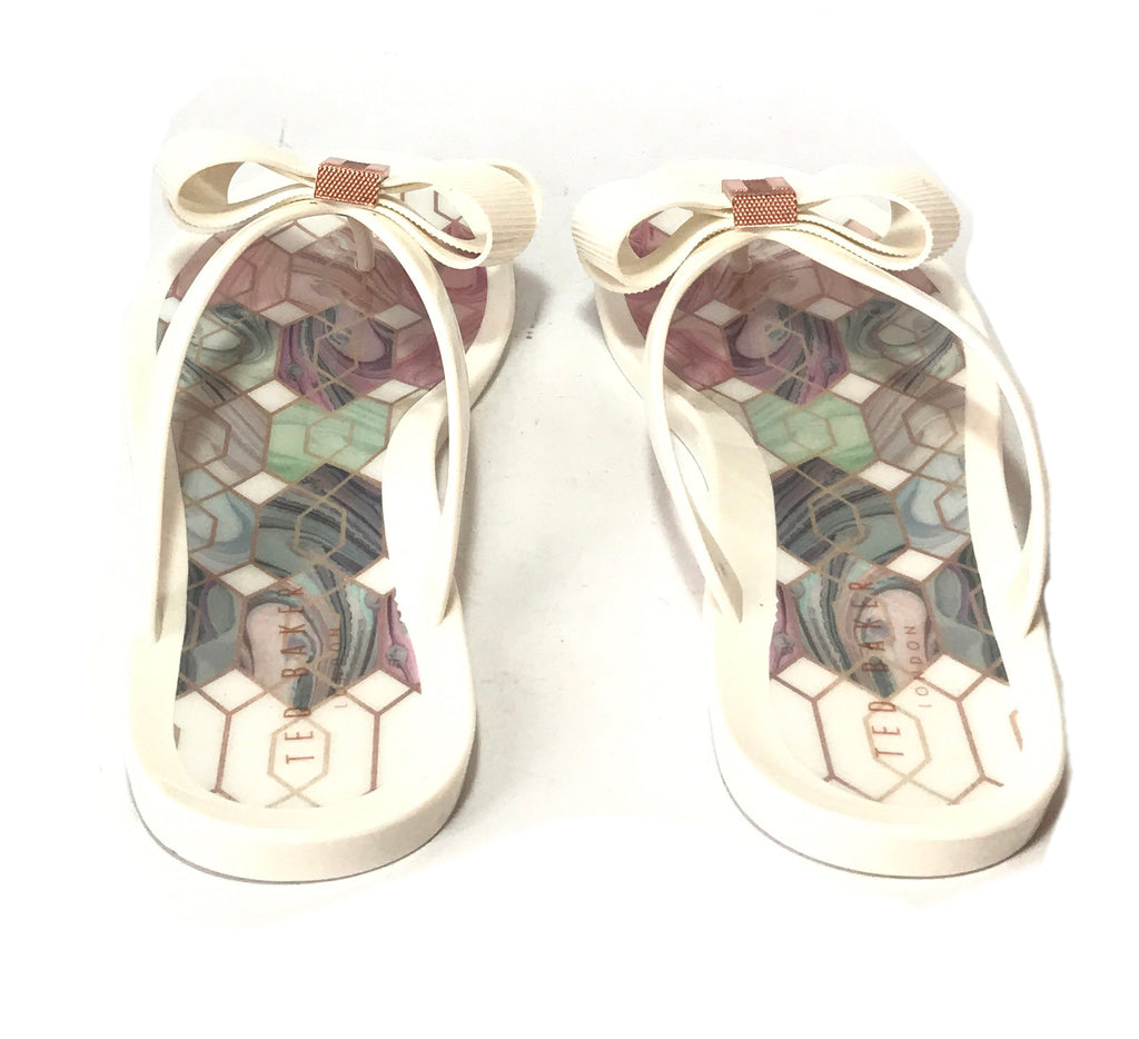 Ted Baker 'Suszie' White Jelly Flip Flops | Like New |
