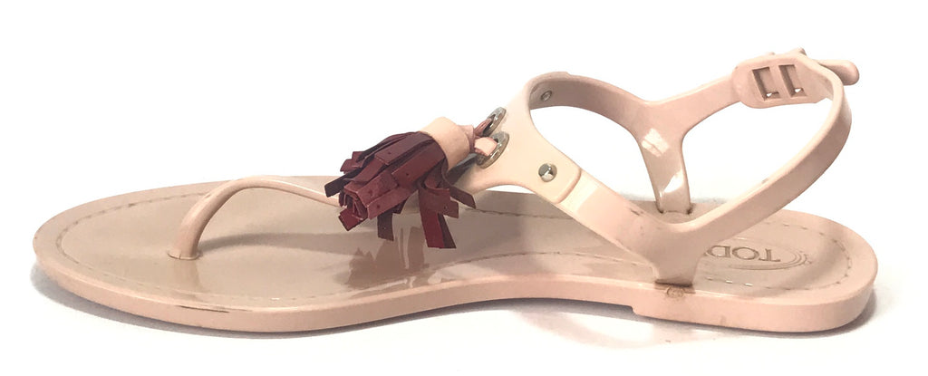 TOD's Blush Pink Tassel Jelly Sandals | Pre Loved |