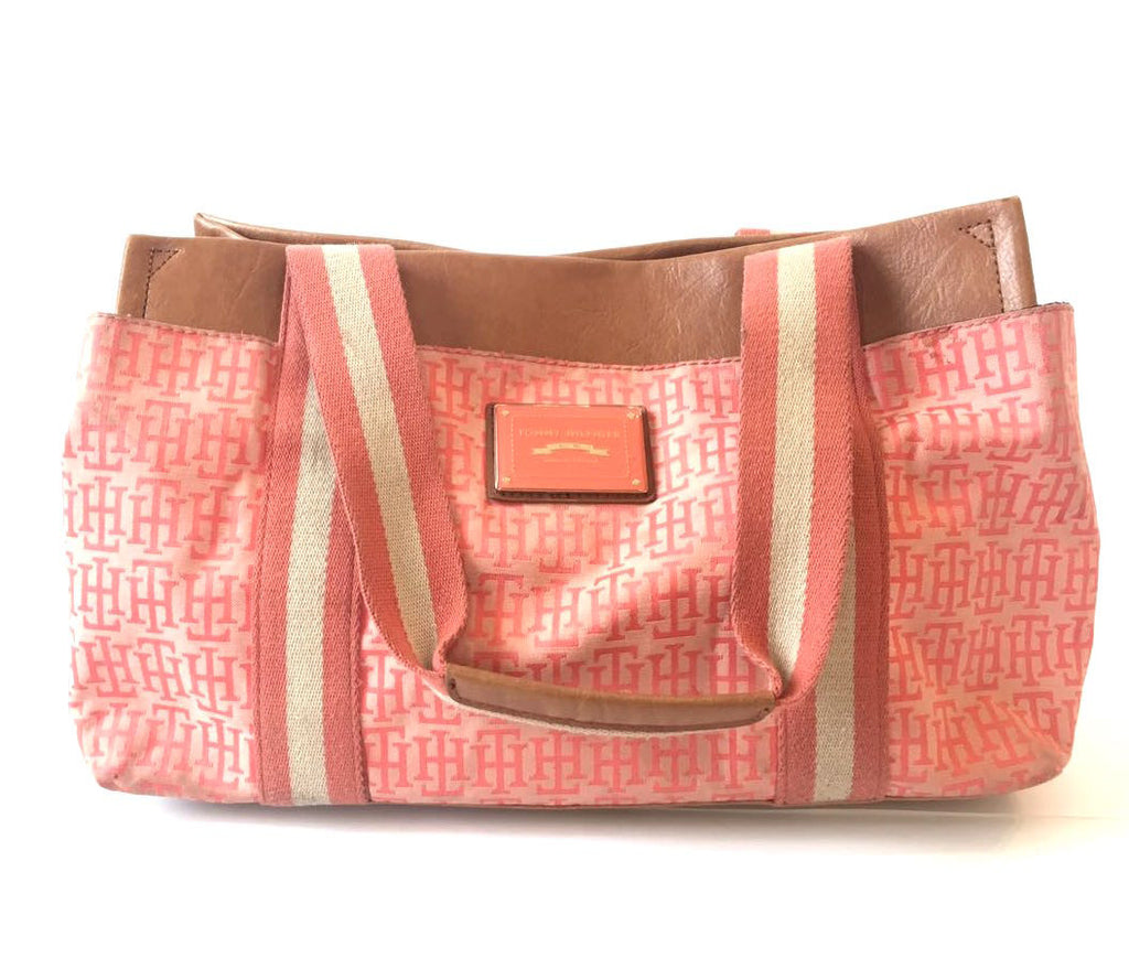 Tommy Hilfiger Pink Canvas with Leather Trim Bag | Pre Loved |
