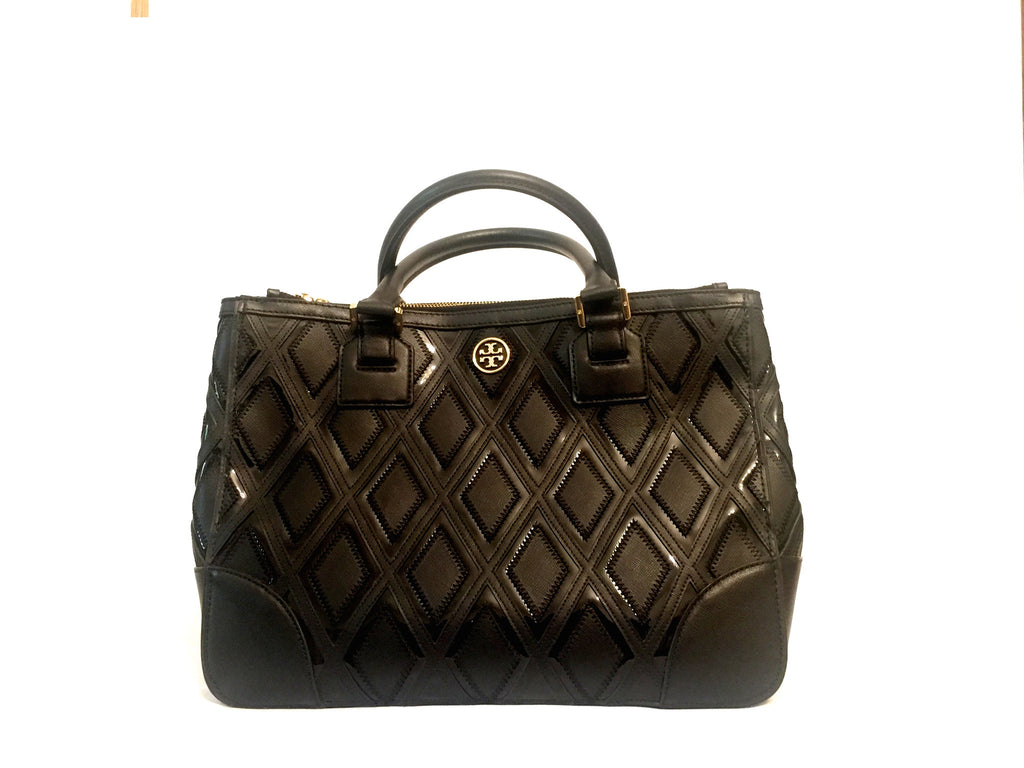 Tory Burch Black Leather Double Zip Tote Bag | Gently Used | - Secret Stash