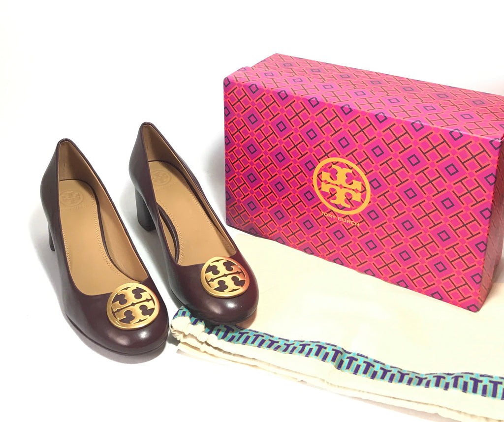 Tory Burch Benton 50MM MALBEC Leather Pumps | Brand New |