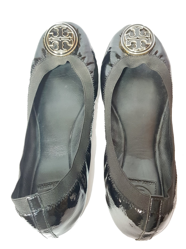 Tory Burch 'Caroline' Black Patent Leather Ballet Flats | Pre Loved |