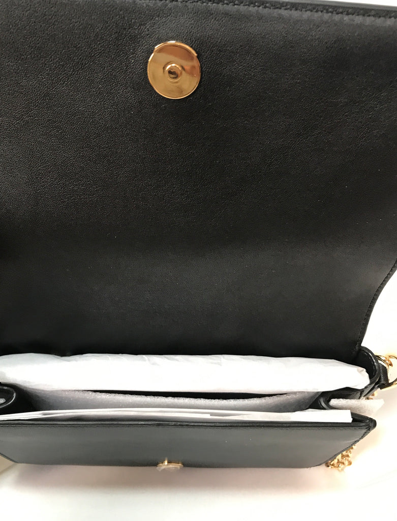 Tory Burch Black Leather 'ISABELLA' Clutch | Brand New |