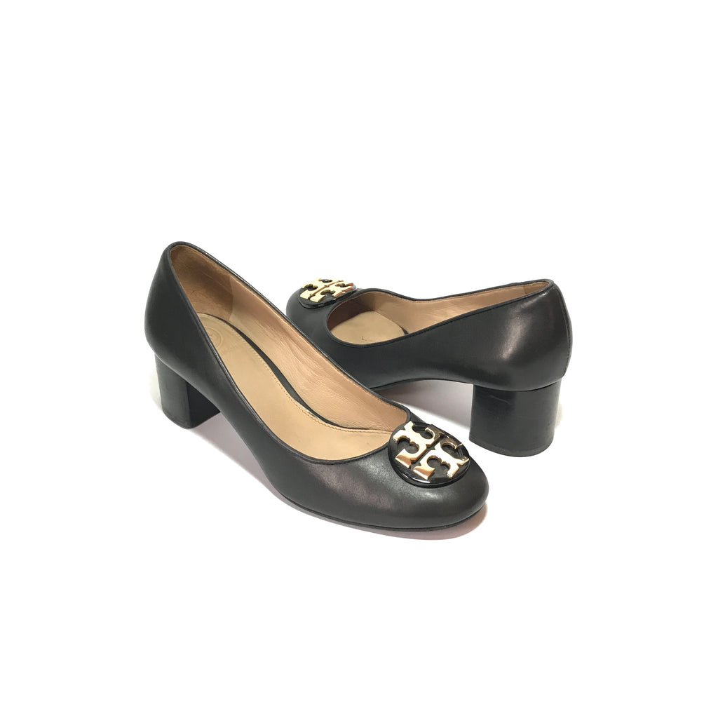 Tory Burch Black Leather 'Janey' Block Heels | Gently Used |