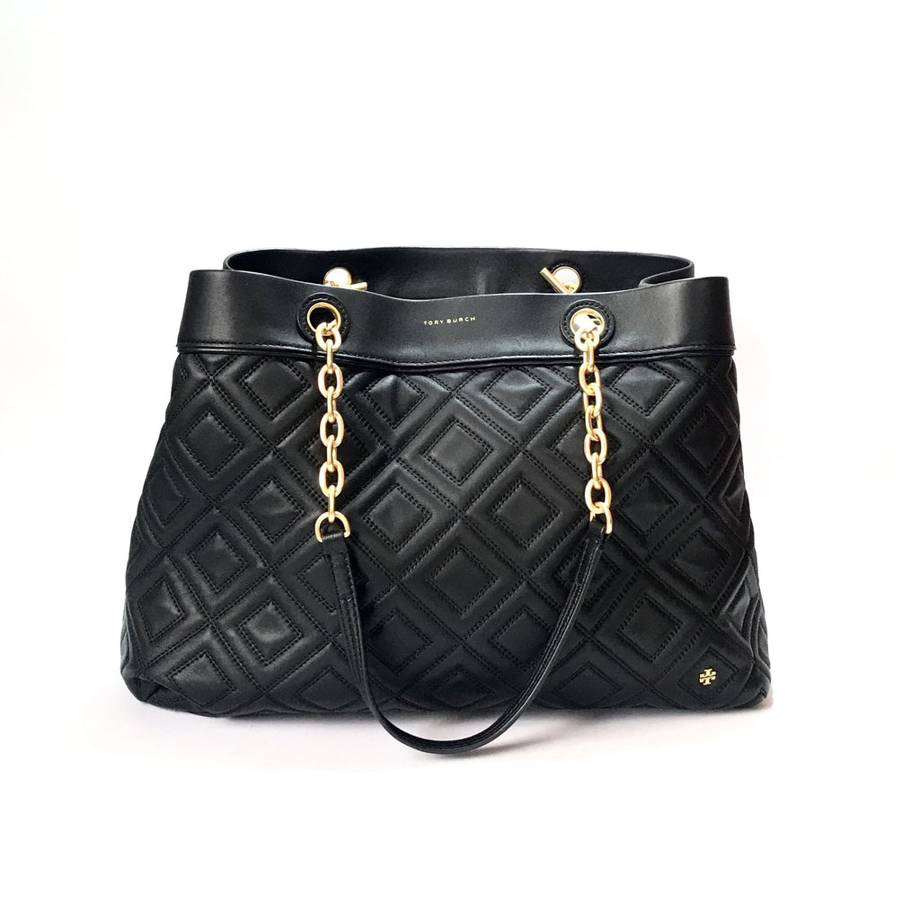 Tory Burch Black Leather Large FLEMING TOTE | Like New |