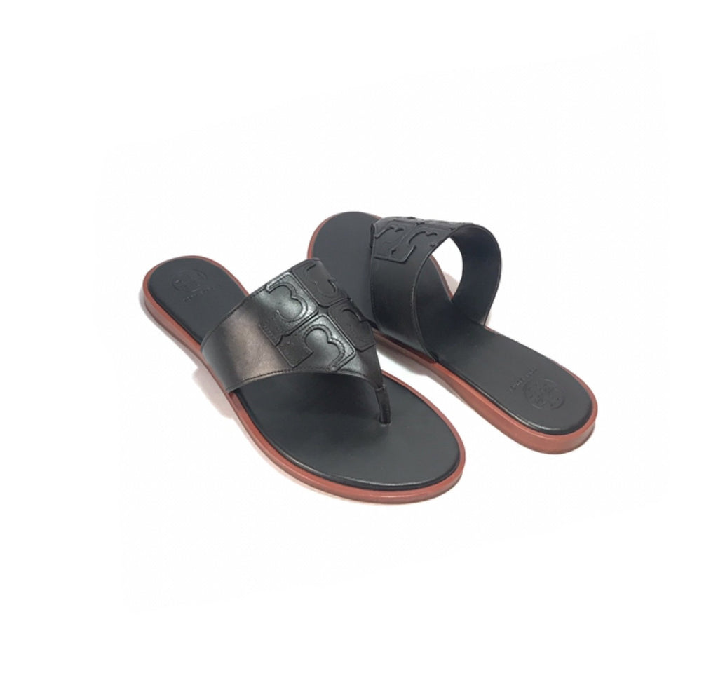 5ce3170637206d Tory Burch Black Leather  JAMIE  Thong Sandals