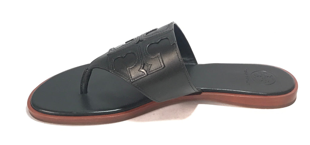 Tory Burch Black Leather 'JAMIE' Thong Sandals | Brand New |