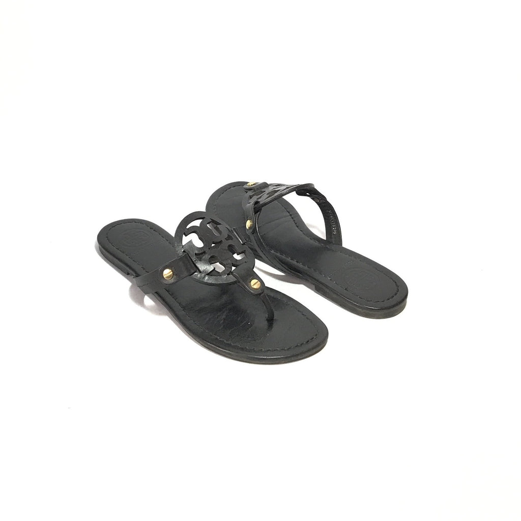 Tory Burch Black 'Miller' Leather Sandals | Pre Loved |
