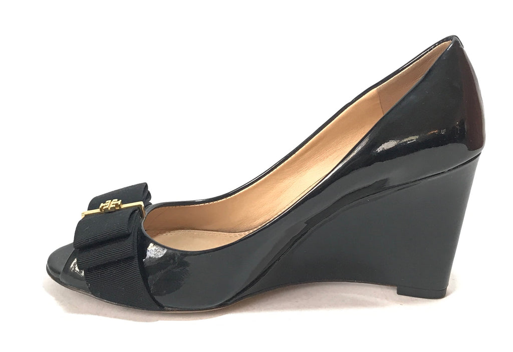 Tory Burch 'TRUDY' Black Peep Toe Wedges | Gently Used |