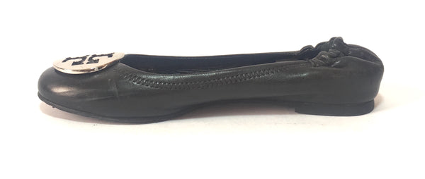 Tory Burch REVA Black Leather Ballet Flats | Pre Loved |