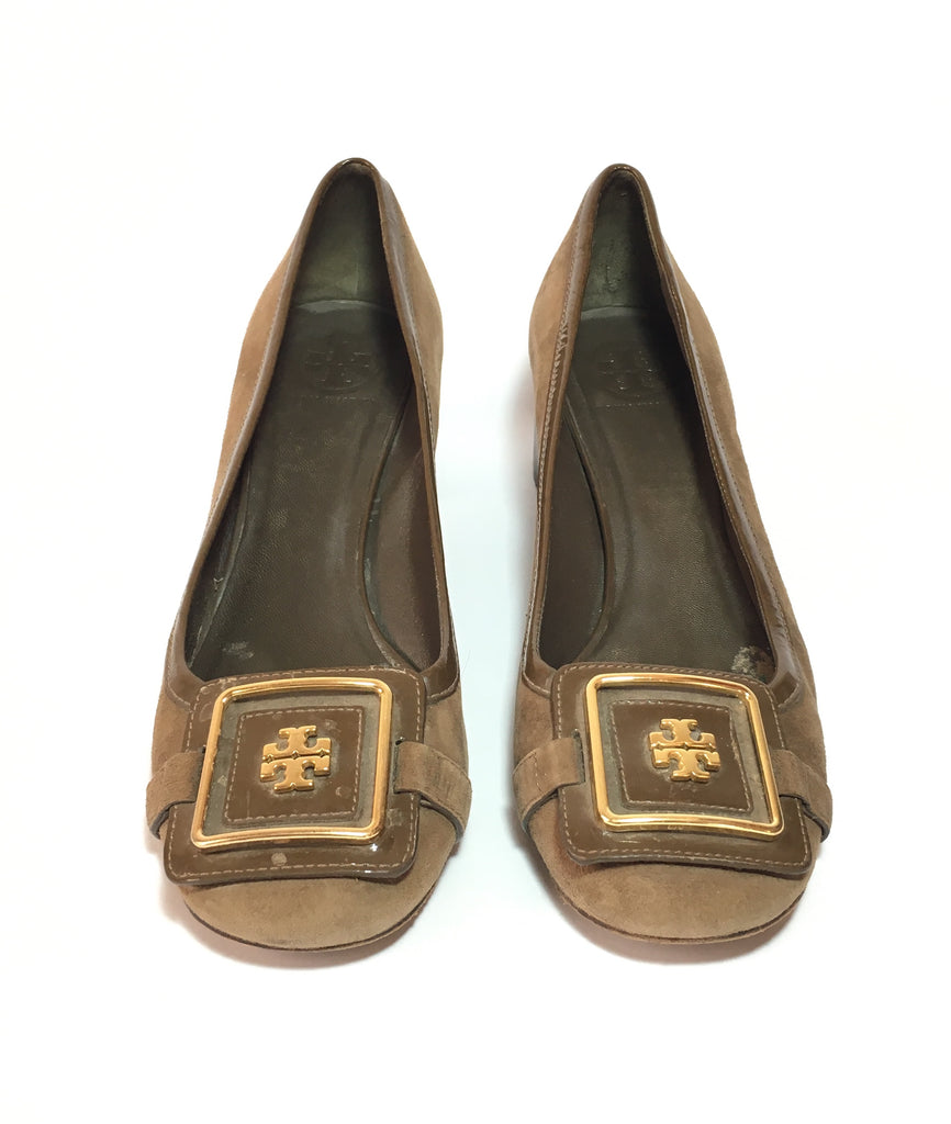 Tory Burch Brown Suede Block Heel Pumps | Pre Loved |