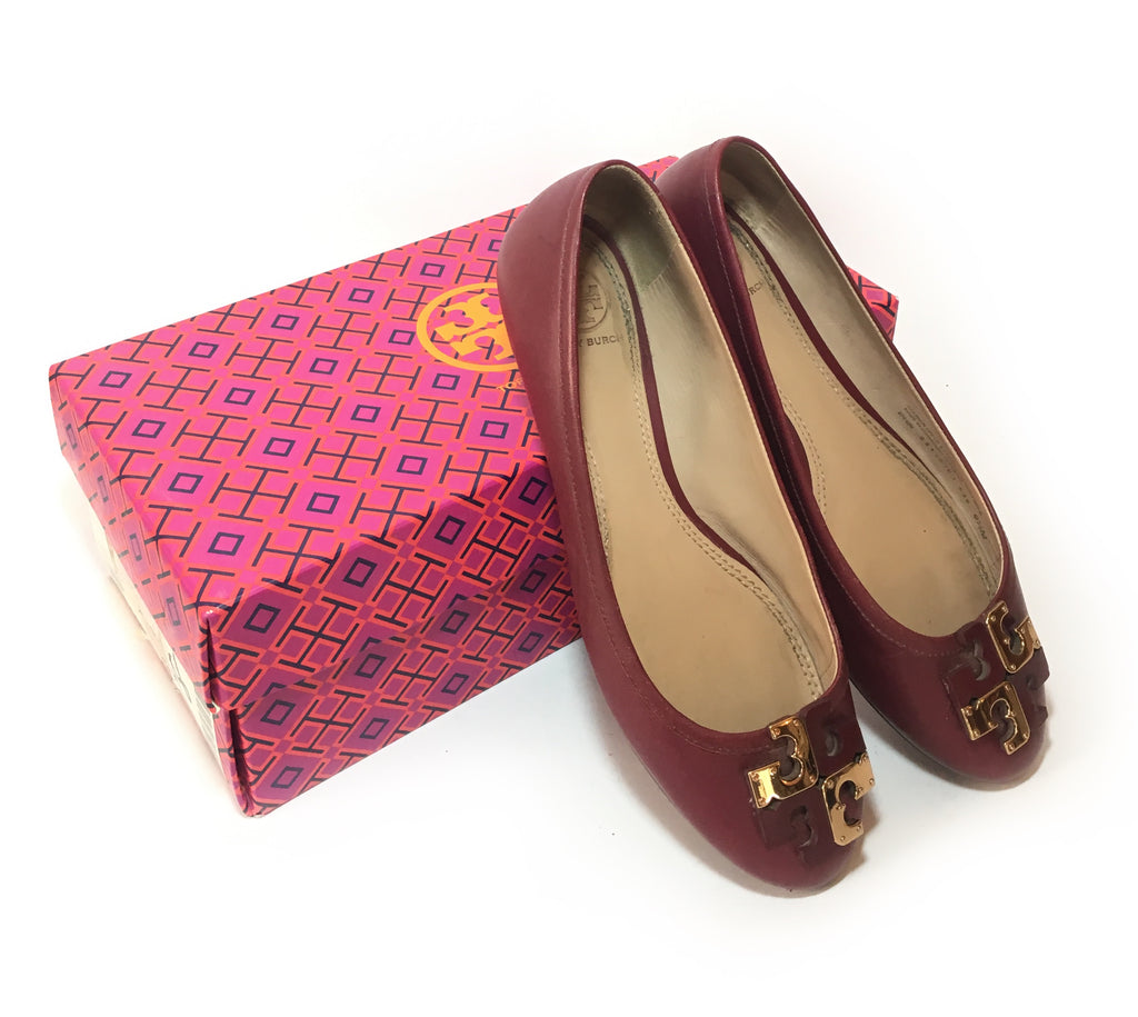 Tory Burch Maroon 'Lowell' Ballet Flats | Pre Loved |
