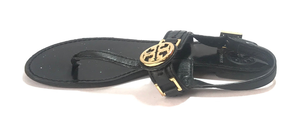 Tory Burch Cassia Black Flat Thong Sandals | Pre Loved |