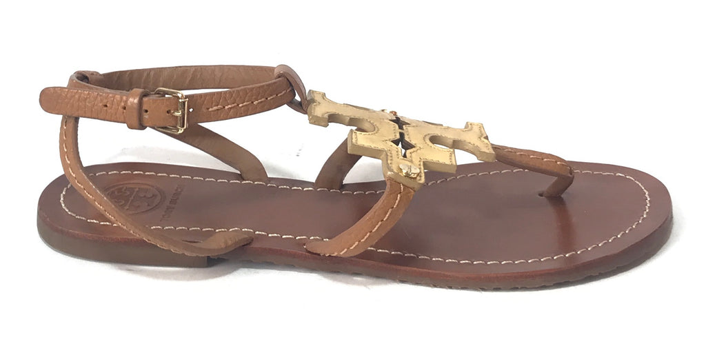 Tory Burch 'Chandler' Royal Tan Vachetta Gold Logo Sandals | Gently Used |