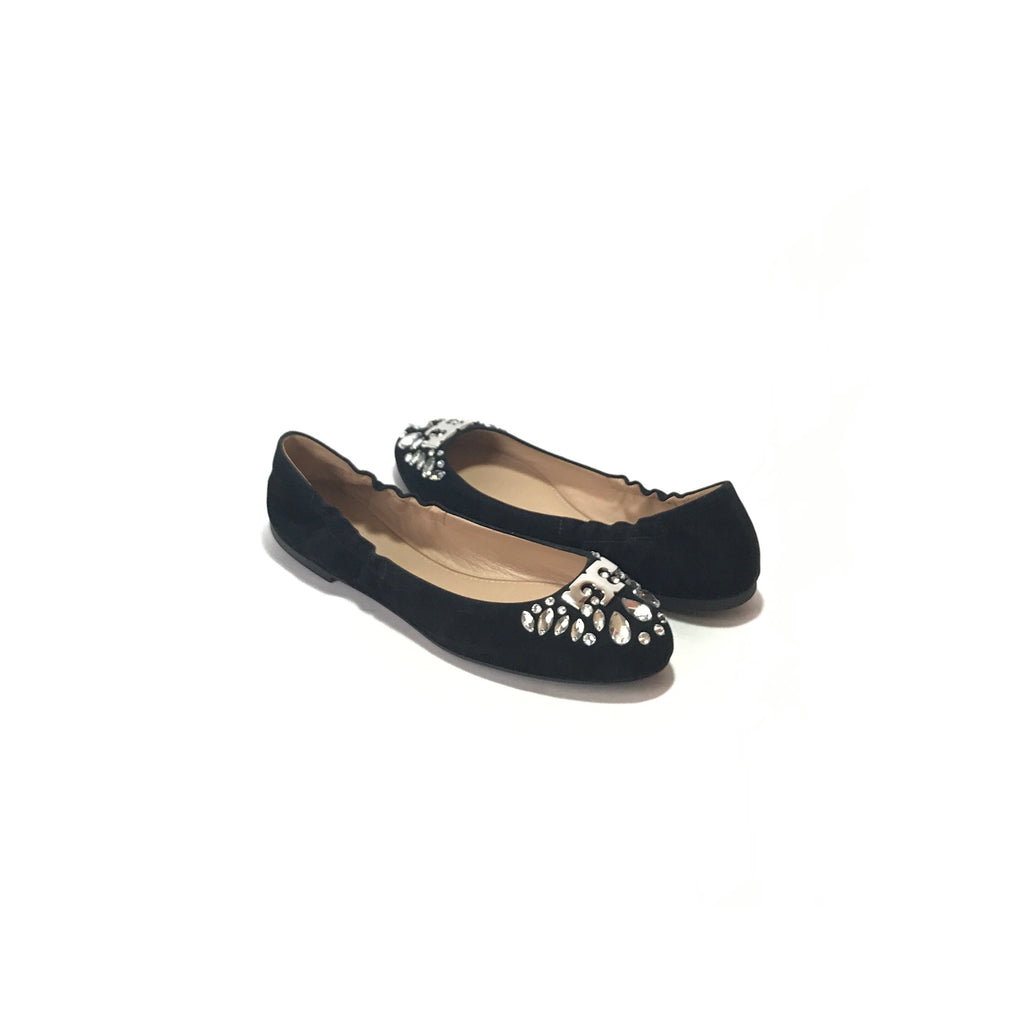 Tory Burch 'Delphine' Black Suede Rhinestone Ballet Flats | Brand New |