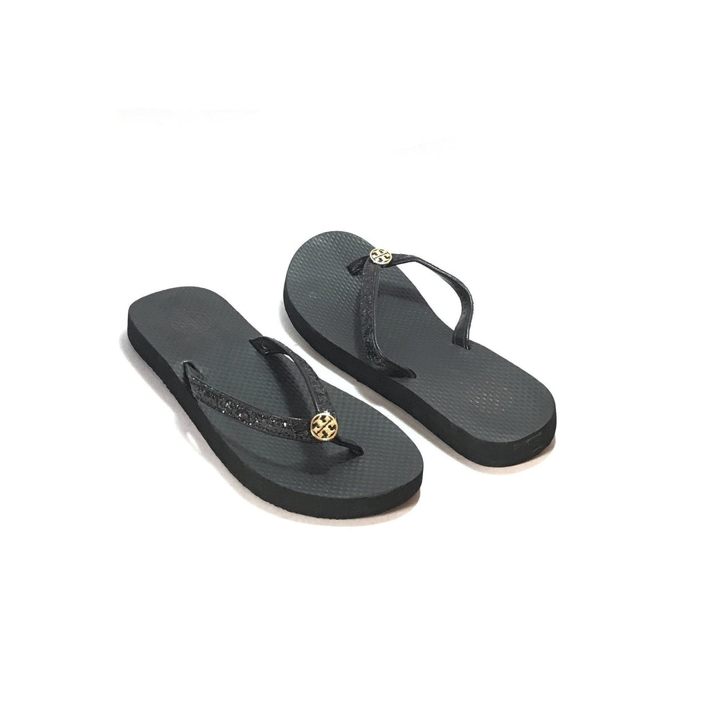 Tory Burch Black Glitter Rubber Flip Flops  Like New -6838