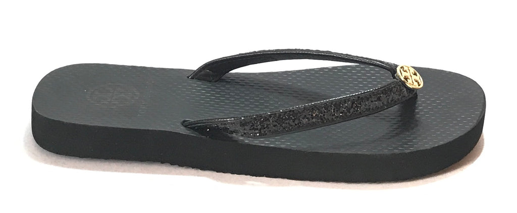 Tory Burch Black Glitter Rubber Flip Flops | Like New |