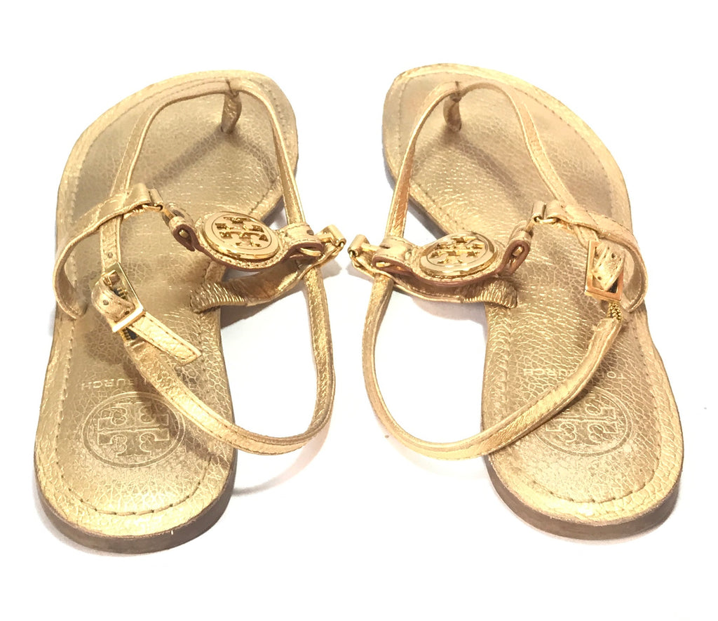 Tory Burch Gold Leather Logo Sandals | Gently Used |