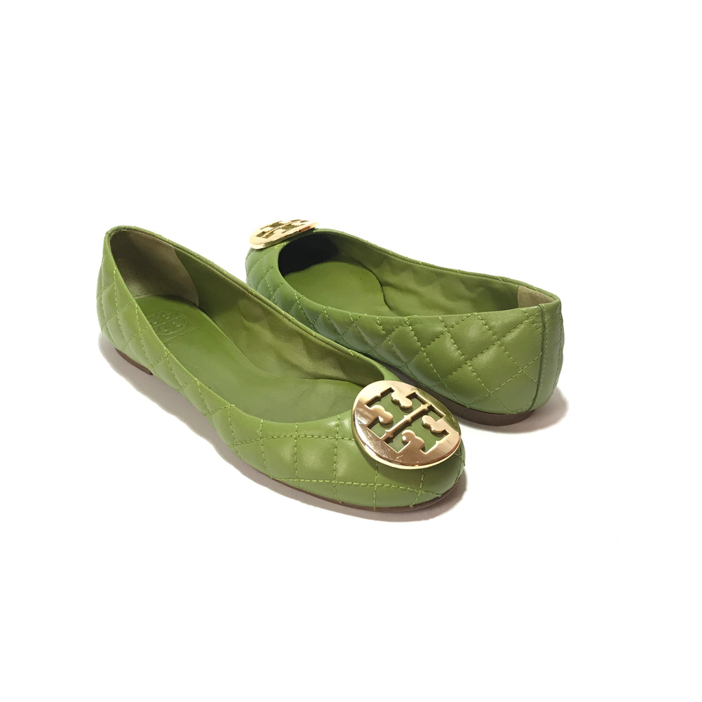 Tory Burch Green Quinn Quilted Ballet Flats | Gently Used |