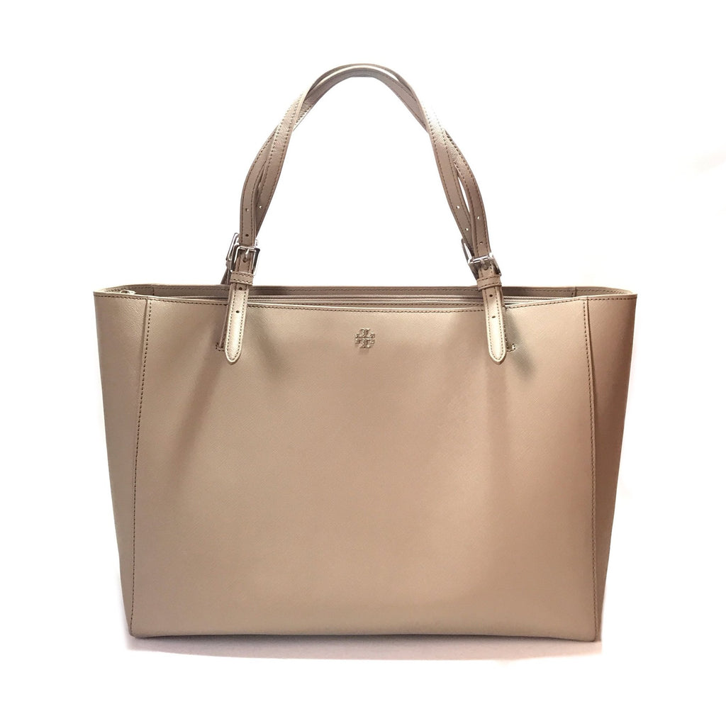 Tory Burch Grey 'YORK' Buckle Leather Tote | Like New |