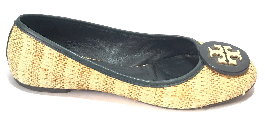 Tory Burch Jute & Black Leather Ballet Flats | Gently Used |