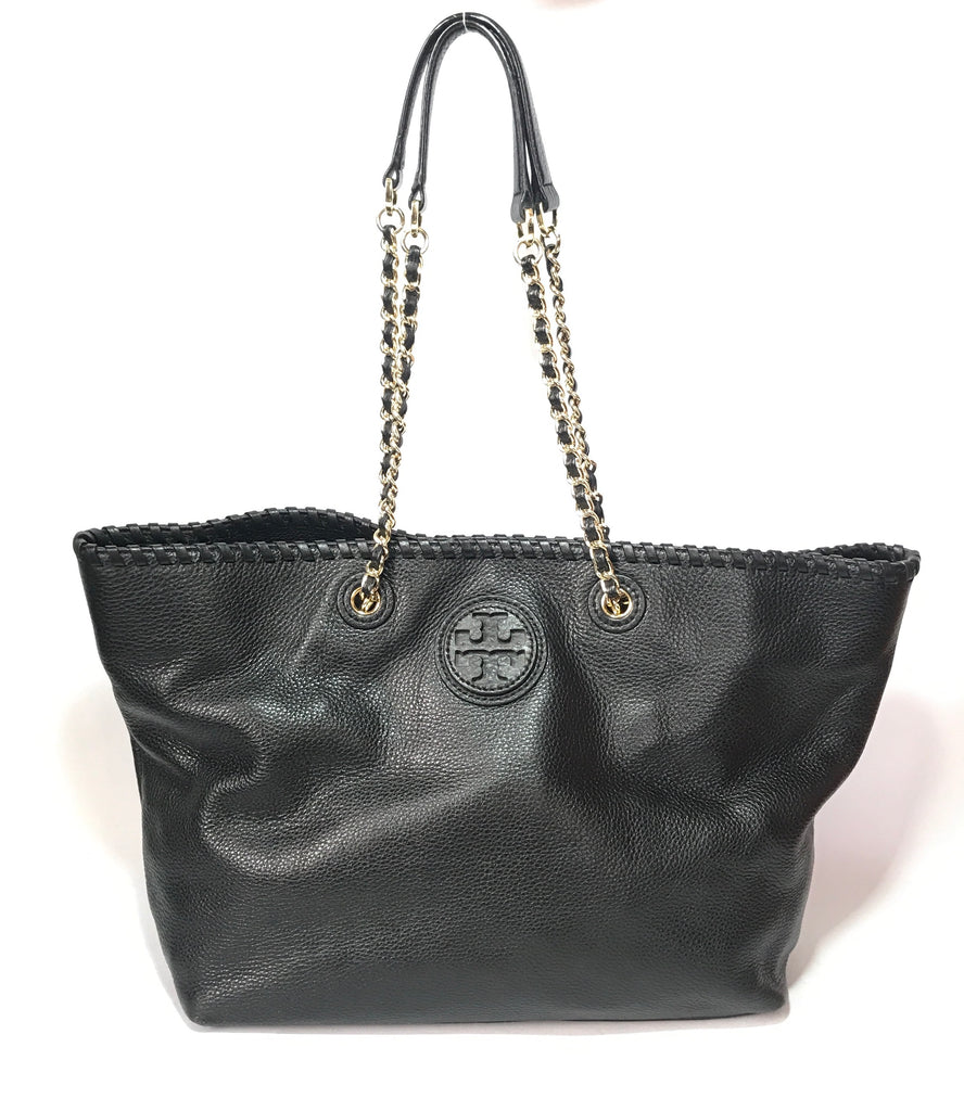 Tory Burch Black Leather 'MARION' Tote | Gently Used |
