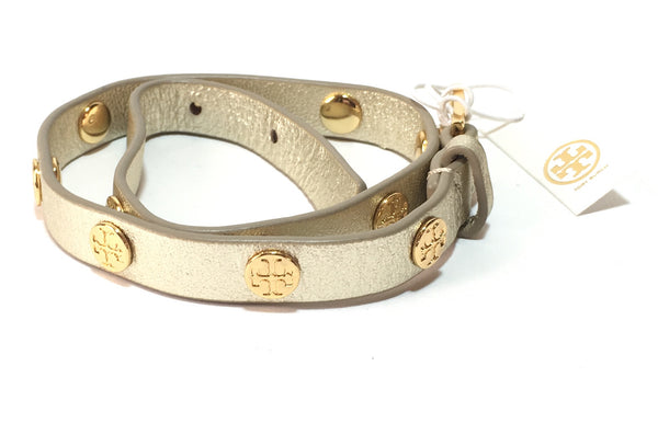 Tory Burch Leather Wraparound Gold Logo Bracelet | Brand New |