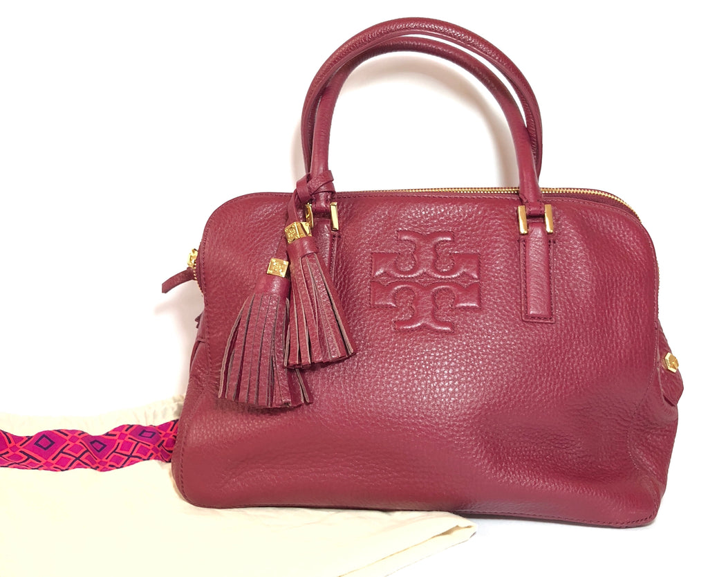 Tory Burch Maroon Pebbled Leather Zip Tote | Gently Used |