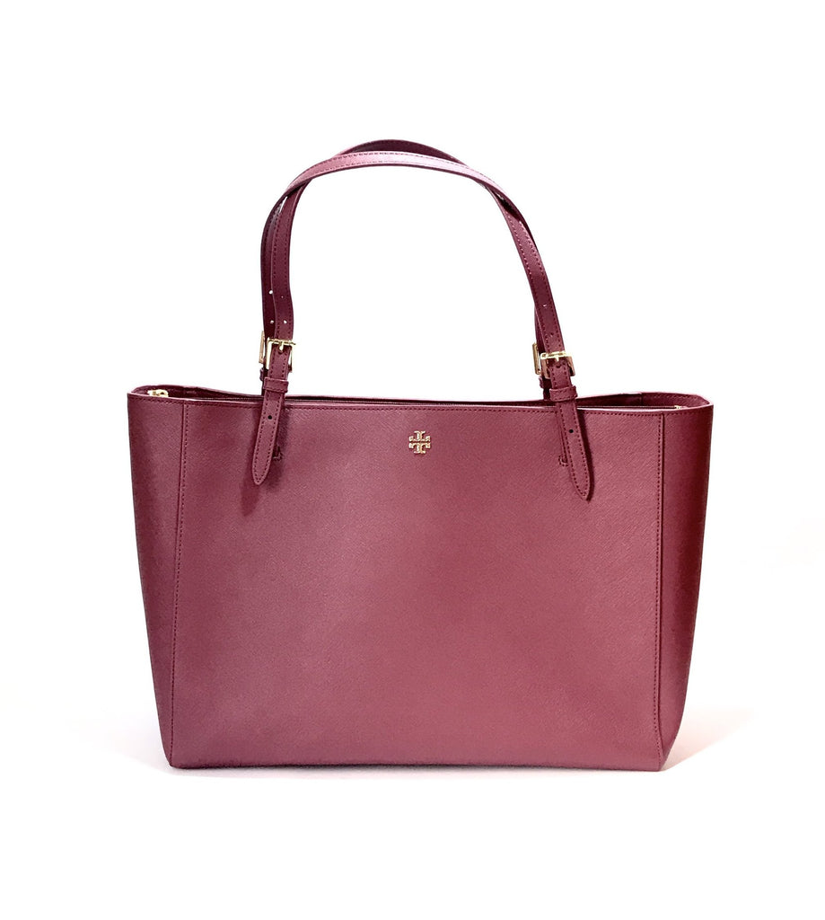 Tory Burch Maroon 'YORK' Buckle Leather Tote | Like New |