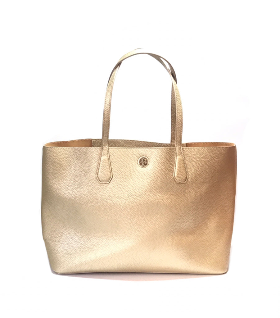 Tory Burch PERRY Gold Soft Leather Shopping Tote | Gently Used |