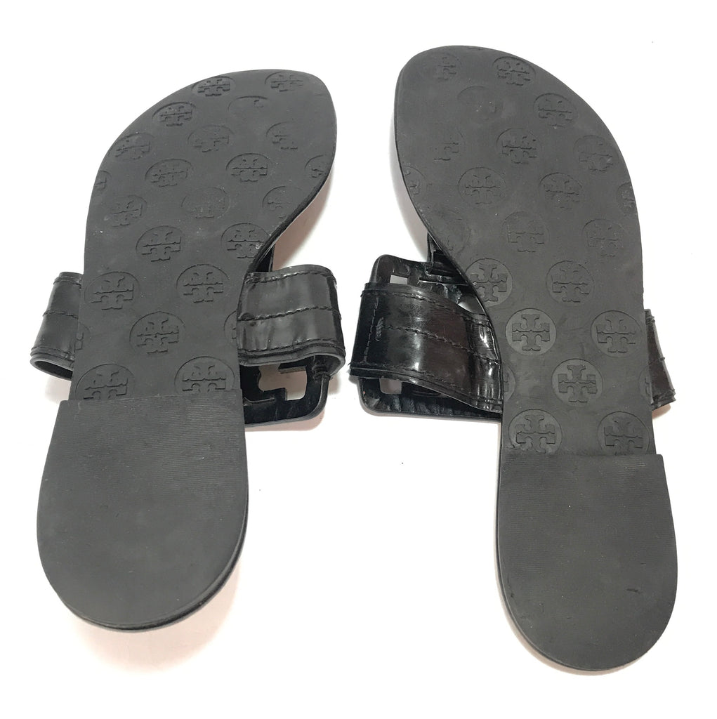 f671abb56528f Tory Burch Patent Leather Square Miller Thong Sandals