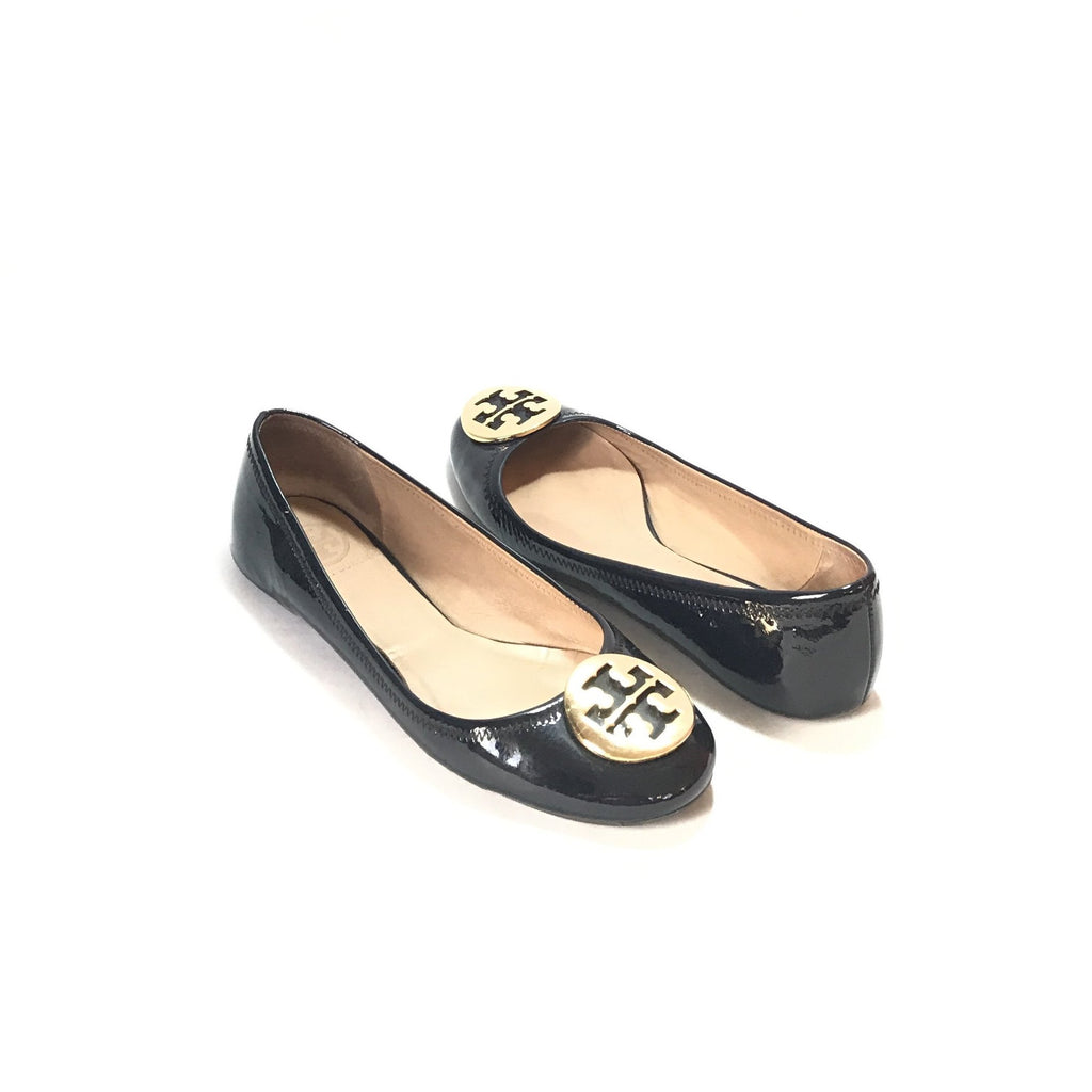 Tory Burch 'Reva' Navy Patent Ballet Flats | Pre Loved |