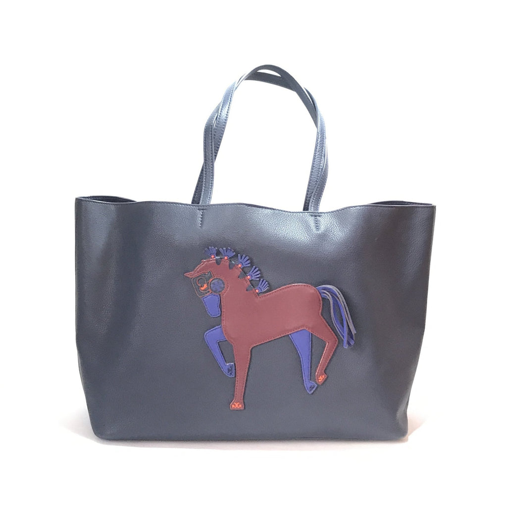 87d115b9824c Tory Burch Navy Leather Horse Tote