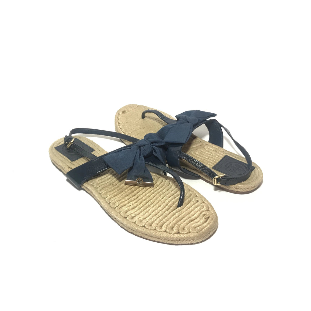 Tory Burch Navy 'Penny' Bow Jute Sandals | Pre Loved |