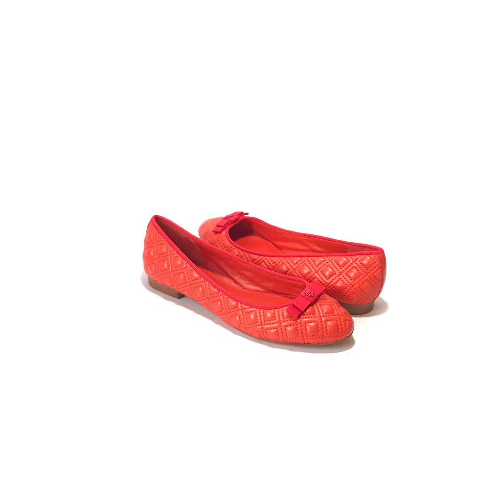 Tory Burch Orange 'Marion' Leather Ballet Flats | Brand New |