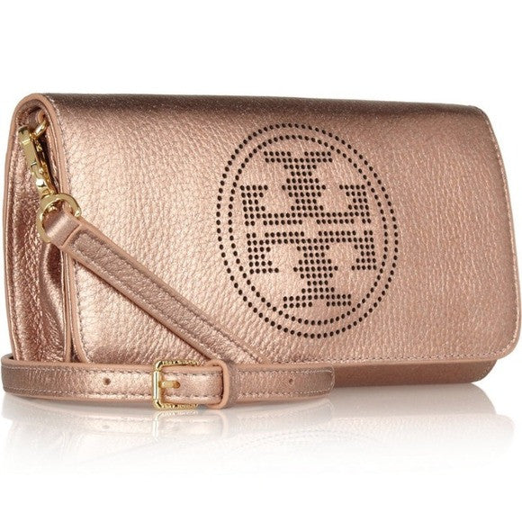 Tory Burch Royal Salmon Metallic Leather Clutch Bag | Brand New | - Secret Stash