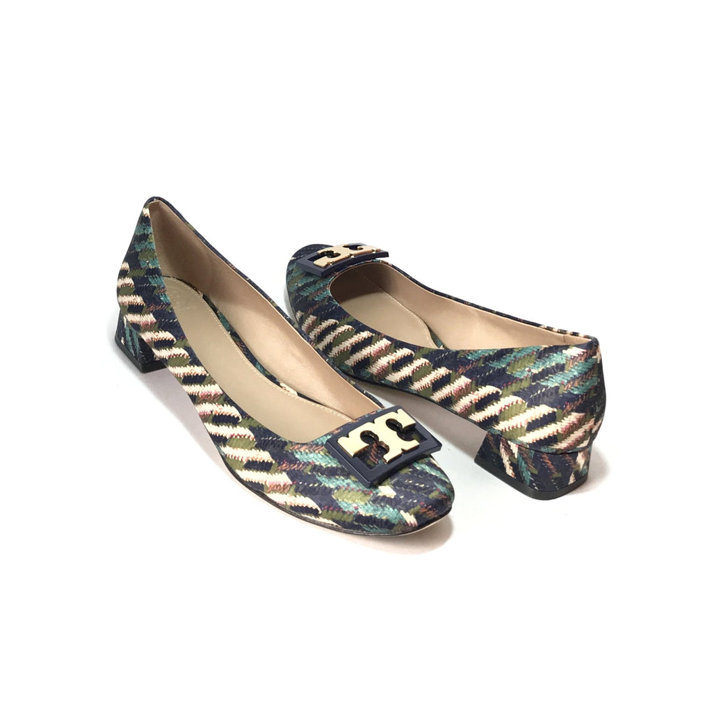 Tory Burch 'Gigi' Printed Satin Block Heels | Brand New |
