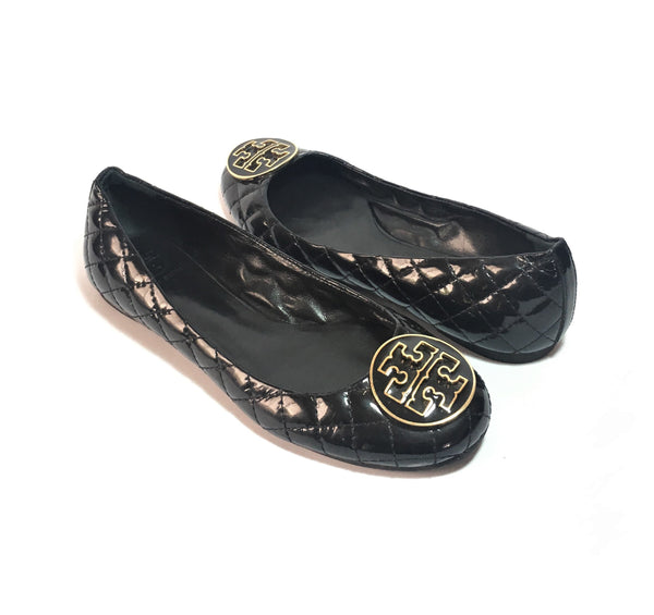 Tory Burch Quilted Patent Leather 'Reva' Ballet Flats | Gently Used |
