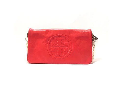 Tory Burch 'Bombe Reva' Red Leather Shoulder Bag | Brand New |
