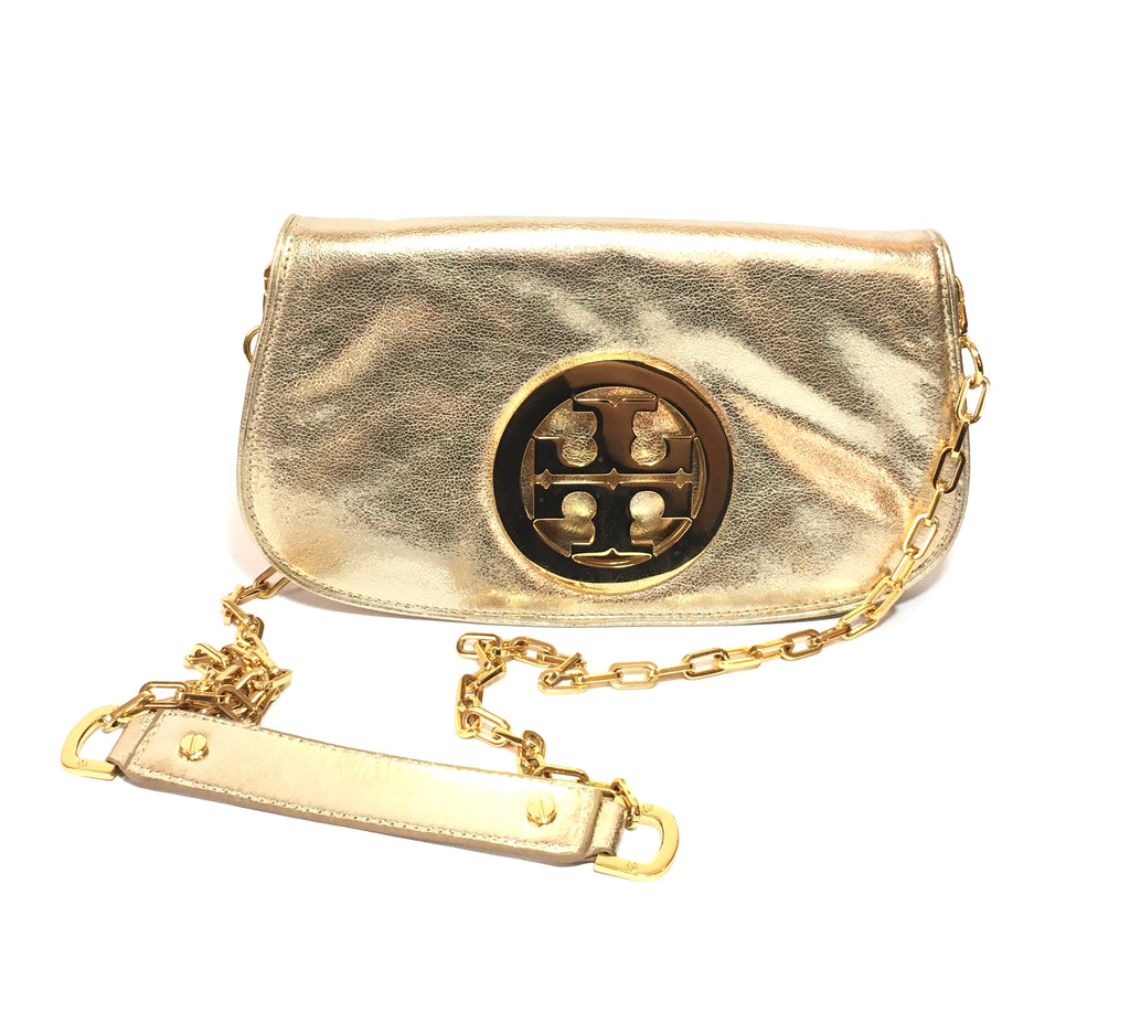 Tory Burch Gold REVA Leather Bag | Pre Loved |