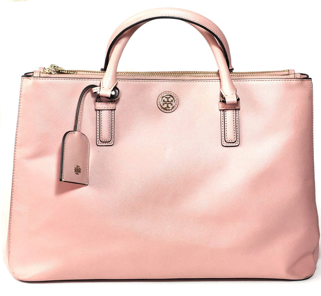 Tory Burch Robinson Double Zip Pale Apricot Tote | Gently Used |