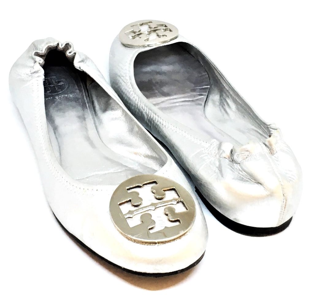 Tory Burch REVA Silver Leather Ballet Flats | Gently Used |